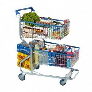 Mini carrinho supermercado duas bandejas