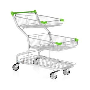 Carrinho de supermercado dupla cesta