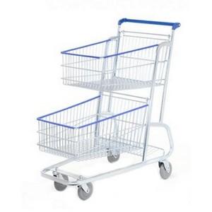 Venda de carrinho de supermercado dupla bandeja