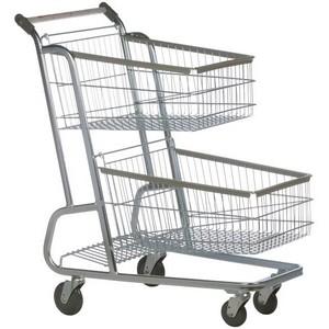 Carrinho de supermercado com dupla cesta